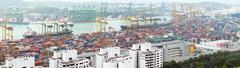 Panoramic view of huge commercial container terminal in Singapore Stock Photos
