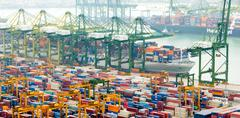 Commercial port of Singapore. Bird eye panoramic view of busiest Asian terminal Stock Photos