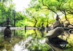 Calm Zen meditate and spiritual pond background Stock Photos