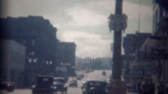 1946: Western mainstreet downtown city off US Route 99 road.  PORTLAND, OREGON Stock Footage