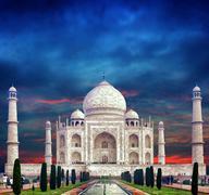 Indian Palace Taj Mahal in India - stock photo