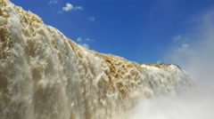 Close Up of Waterfall at Iguazu Falls, on the Border of Argentina and Brazil Stock Footage