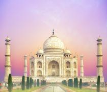 Beautiful sunset over Taj Mahal palace in India, Agra Stock Photos