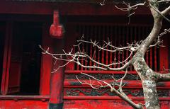 Ancient architecture background from Temple of Literature in Hanoi Vietnam Stock Photos