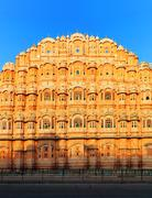 Hawa Mahal Palace or Temple of Winds in India Rajasthan - stock photo