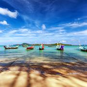 Travel destination background of Thailand sea coast Stock Photos