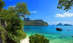 Exotic beautiful landscape of Thailand sea. Angthong marine park near Samui Stock Photos