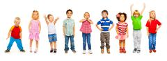 Combination of little kids standing isolated Stock Photos