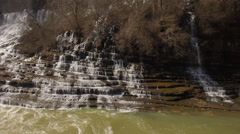4k Aerial Winter Tennessee Waterfall Hover 007 Pan Left Stock Footage