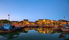 Hoi An old town in Vietnam after sunset - stock photo