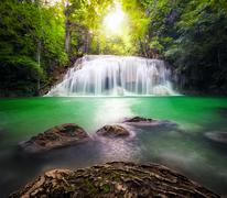 Thailand outdoor photography of waterfall in rain jungle forest Stock Photos