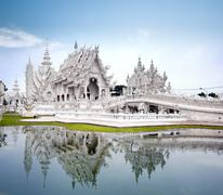 Thailand landmark White Temple in Chiang Rai Stock Photos