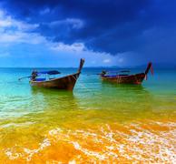 Stormy sea landscape - stock photo