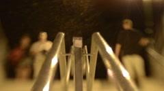 Pedestrian traffic seen through a lens Lensbaby Stock Footage