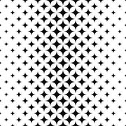 Seamless monochrome vector star pattern - stock illustration