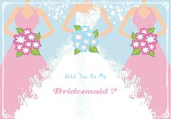 Will You Be My Bridesmaid - stock illustration