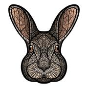 Vector drawing head of a rabbit, hare - stock illustration