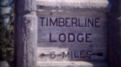 1946: Timberline lodge hotel travel center sign and epic building. MT HOOD, - stock footage