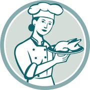 Female Chef Serving Chicken Roast Circle Retro Stock Illustration