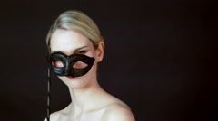 Young woman with costume mask Stock Footage