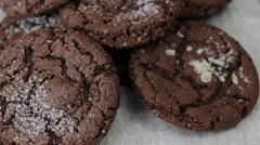 Rotating plate with homemade chocolate cookies with sugar Stock Footage