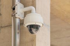 Security CCTV camera and urban video, electronic device Stock Photos