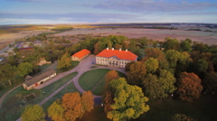 Aerial view of the Lihula town in Estonia Stock Footage
