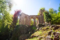 Spring view of aqueduct ruins in Bergpark Stock Photos