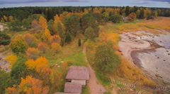 The aerial view of the Altja village in Estonia Stock Footage