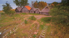 Aerial view of the Altja village in Estonia Stock Footage