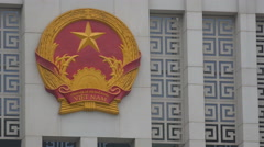 Communist Party logo, Socialist Republic of Vietnam, National Assembly Hall - stock footage