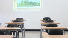 High school students arriving in class - stock footage