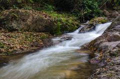 Chaeson Waterfall in autumn season, Lampang Province, Thailand - stock photo
