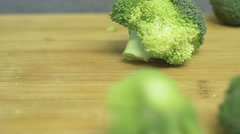 Broccoli Falling CloseUp Slow Motion Dolly Shot Stock Footage