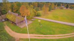 The flagpole in front of the tavern Stock Footage