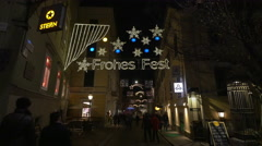 Walking on Sporgasse, a beautiful decorated street on Christmas in Graz Stock Footage
