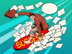 Businessman surfer success - stock illustration
