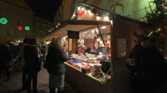 Souvenirs stall at the Franziskanerviertel Christmas market in Graz Stock Footage
