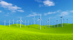 Wind turbines on green hills at sunny day 4K animation - stock footage