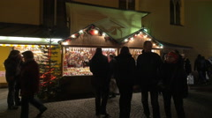 Street stalls at the Franziskanerviertel Christmas market in Graz Stock Footage