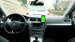 Dashboard - radio (navigation) touch screen in the modern car and smartphone  Stock Footage