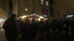 Punch stall at the Franziskanerviertel Christmas market in Graz Stock Footage