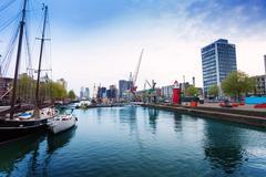 Leuvehaven embarkment in Rotterdam - stock photo