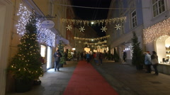 Walking by Georg Wiesauer jeweler on Stempfergasse street on Christmas in Graz Stock Footage
