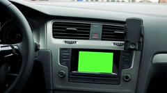 5.mp4dashboard - radio (navigation) touch screen in modern car - green screen - stock footage
