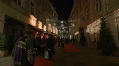 Tourists walking in front of the Frankowitsch Restaurant on Christmas, Graz Stock Footage