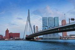 Erasmusbrug bridge in cloudy weather, Rotterdam - stock photo