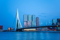 Erasmusbrug bridge view at evening in Rotterdam - stock photo