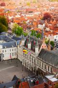 Top view of fortified citadel Stadhuis, Bruges - stock photo