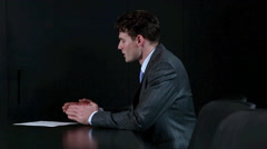 Businessmen shaking hands at job interview Stock Footage